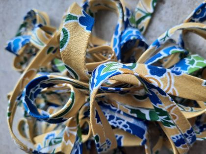 Blue/mustard/green floral bias binding - 12mm x 5m