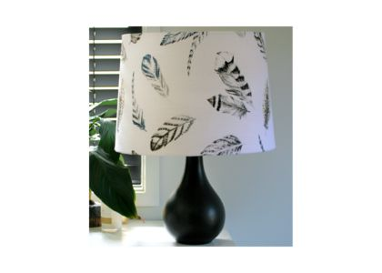 Large feather fabric lampshade