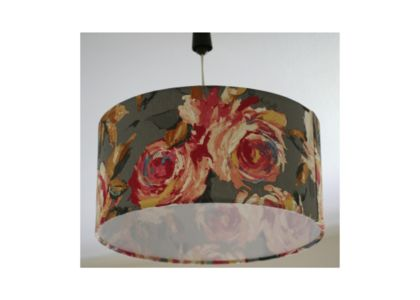 Fabric lampshade – flowers on grey