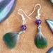 Kereru feathers with amethyst crystal earrings