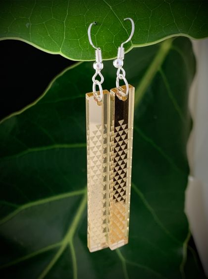 Kawau Panel Earrings - Gold Mirror