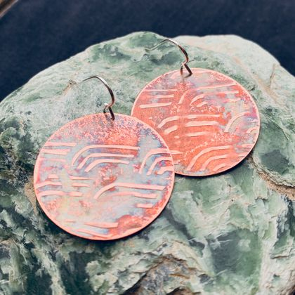 Migration Earrings - Textured copper with silver findings