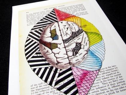 5x7 print - Left Brain, Right Brain (anatomy)- Print