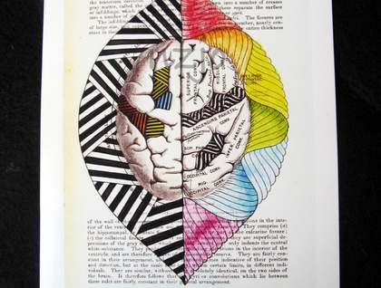 5x7 print - Left Brain, Right Brain (anatomy)- Print