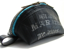 Petite Rubber Bag - Recycled Tyre Tube with Teal and Gold Zip