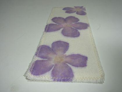 Linen Bookmark with HapaZome Flower print