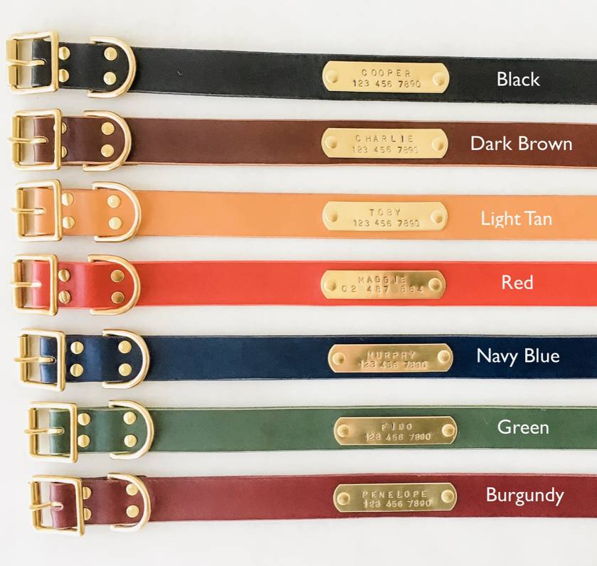 """1.25"""" wide - Hand-stamped Leather Dog Collar"""