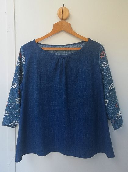 SALE! Now just $45! Blue gathered neckline cotton top