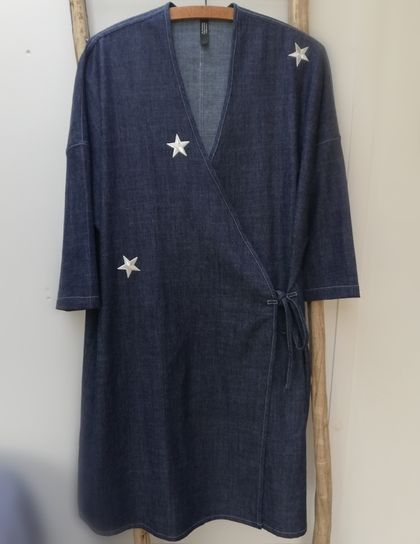 Denim wrap dress with white stars