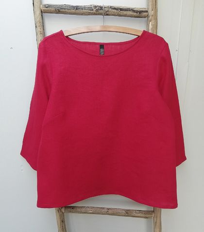 Raspberry red linen top