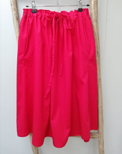 Bright red cotton poplin skirt