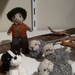 Shepherd / farmer, collie dog and sheep