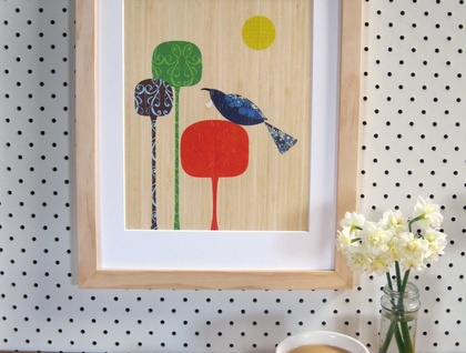 Tui - Native NZ Bird Art Print on bamboo veneer
