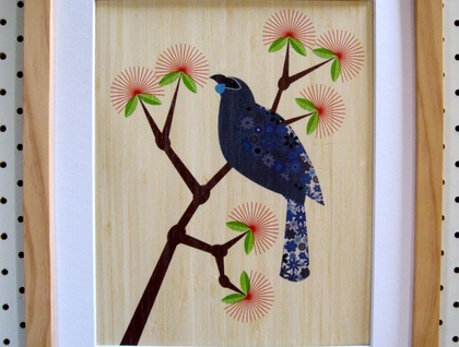 Kokako on Pohutukawa - Print on Bamboo Veneer