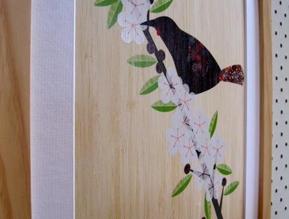 Saddleback (Tieke) on Manuka - Print on Bamboo Veneer