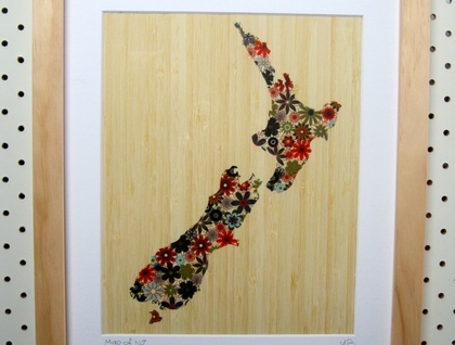NZ Map Print on Bamboo Veneer