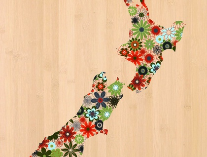 NZ Map Print on Bamboo Veneer