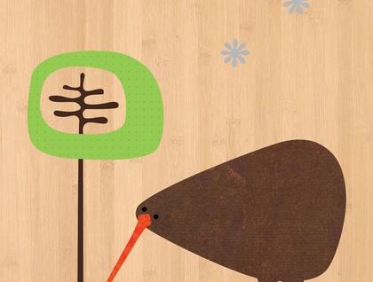 Kiwi Print on Bamboo Veneer