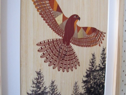 Falcon (Karearea) Print on Bamboo Veneer (with gold leaf detail)