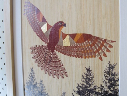 Native NZ Falcon (Karearea) Print on Bamboo Veneer