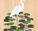 White Heron (Kotuku) - Native NZ Bird Art Print on bamboo veneer
