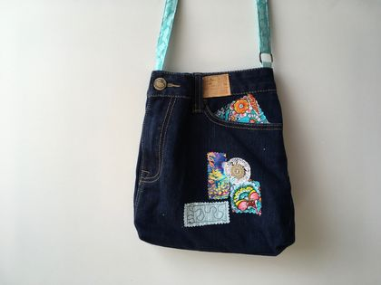 Trendy cross body denim satchel bag