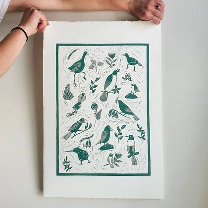Forest and Bird Linocut Print