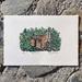 Original hand-coloured Linocut Print - Martins Hut