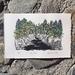 Original Hand-coloured linocut - Pelorus River