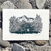 Original linocut artwork - Hamilton Hut