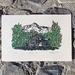 Original hand-coloured linocut artwork - Hamilton Hut
