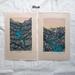 Set of 2 Original linocut artworks - Waterfall & River