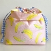 Going Bananas! Cotton canvas drawstring hand bag lunch bag small project bag