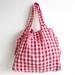 Red Gingham Foldable Shopping Tote Bag