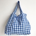 Blue Gingham Foldable Shopping Tote Bag