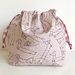 Dusty Pink Dachshund Cotton canvas drawstring hand bag lunch bag small project bag