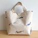 Printed Dachshund Cotton canvas hand bag lunch bag small project bag