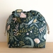 Dino forest cotton canvas drawstring hand bag lunch bag small project bag