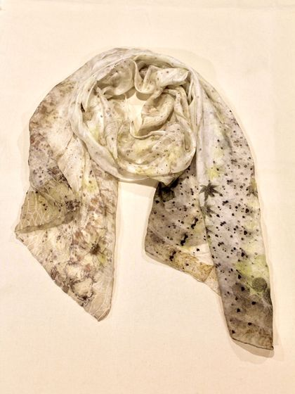 Flowy and Subtle Eco-Printed Scarf - 100% Silk Paj