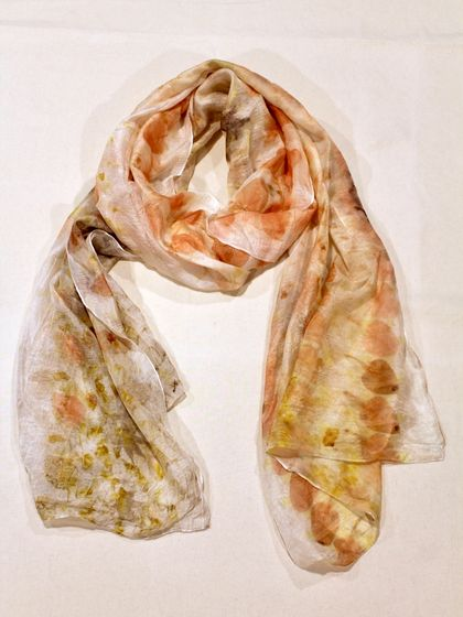 Flowy and Bright Eco-Printed Scarf - 100% Silk Paj