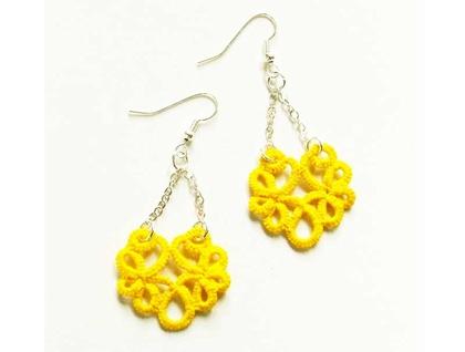 Chandelier Bright yellow lace earrings #2: d