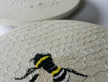 Bee embroidery on cotton