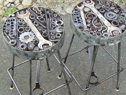NUT's n BOLTS: Pair of STEEL BAR-STOOLS