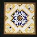 34cm Wall Hanging or Trivet with hand painted tiles - Azulejo design