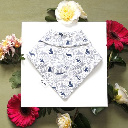 Bandana Baby Bib (100% Cotton) - Blue Forest - Made in New Zealand