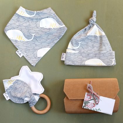 Baby Gift Set - Whale Waves - Made in New Zealand