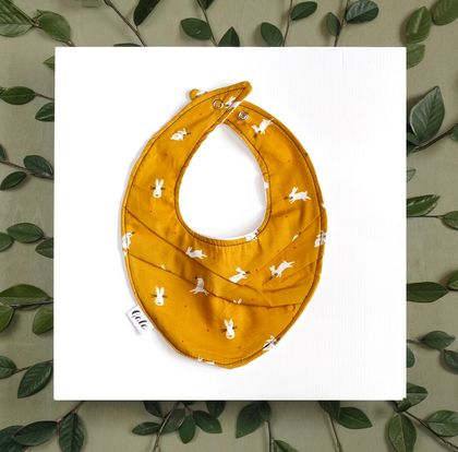 Baby Bib (100% Cotton) - Mustard Bunny - Made in New Zealand