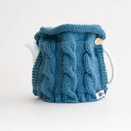 Hand knitted Tea Cosy - The Jersey in blue