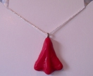 Red Jet Plane Necklace Christmas Edition - Polymer Clay