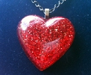 Sparkling Red Resin Glitter Heart Pendant by Squibble